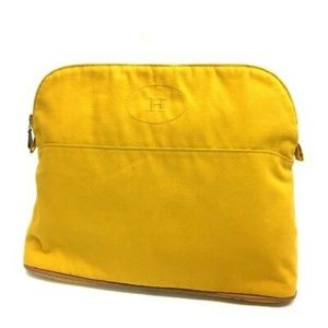 Authentic Hermes Bolide Pouch - Yellow Canvas